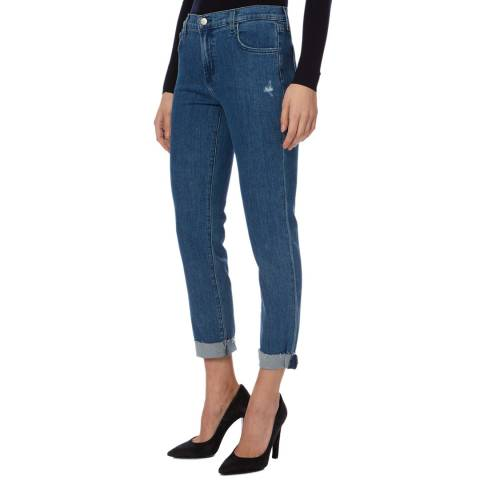 J Brand Dark Blue Johnny Mid Rise Boyfit Jeans