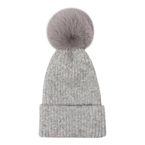 JayLey Collection Grey Wool Blend Hat With Faux Fur Pom