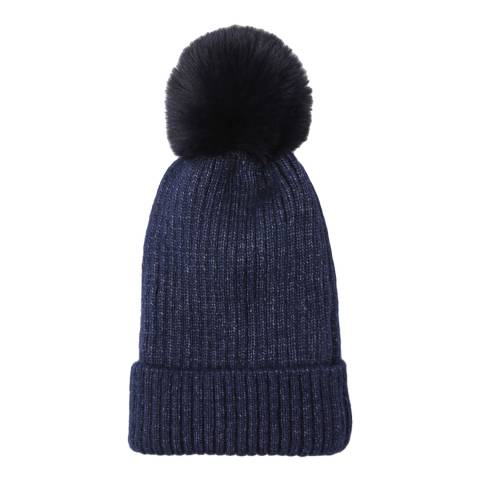 JayLey Collection Navy Wool Blend Hat With Faux Fur Pom