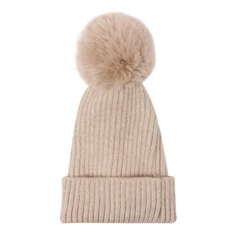 JayLey Collection Mocha Wool Blend Hat With Faux Fur Pom