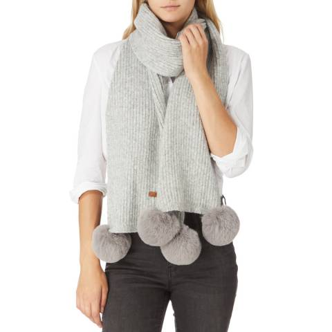 JayLey Collection Grey Cashmere Blend Scarf With Faux Fur Bobble