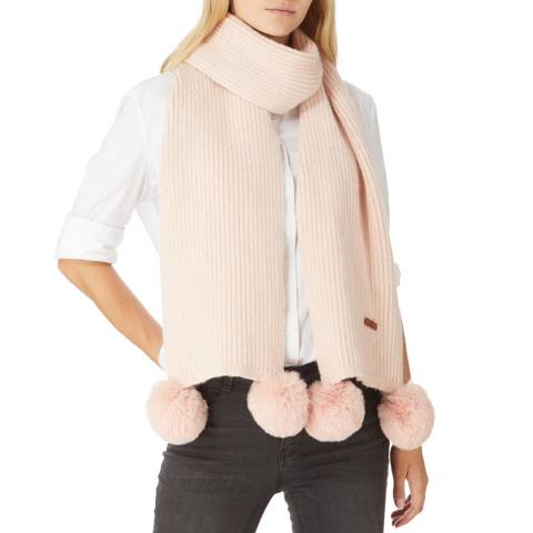 JayLey Collection Pink Cashmere Blend Scarf With Faux Fur Bobble