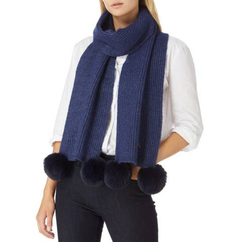 JayLey Collection Navy Cashmere Blend Scarf With Faux Fur Bobble