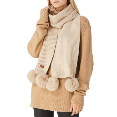 JayLey Collection Mocha Cashmere Blend Scarf With Faux Fur Bobble