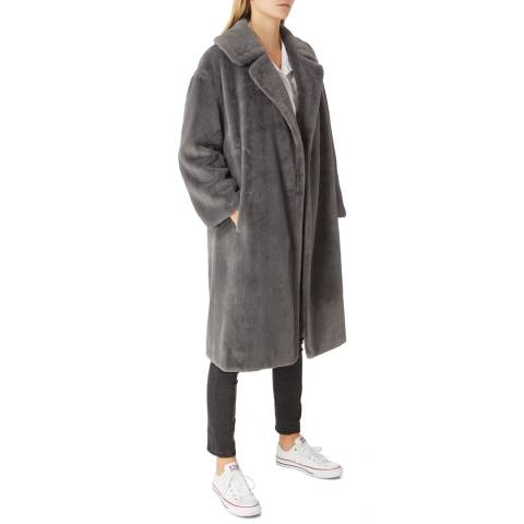 JayLey Collection Grey Faux Fur Long Coat