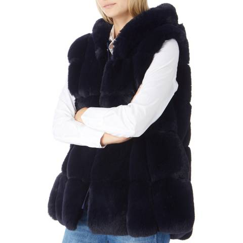 JayLey Collection Luxury Navy Faux Fur Hooded Gilet