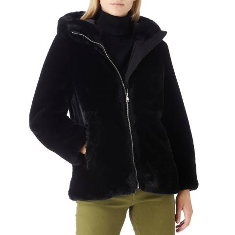 JayLey Collection Luxury Black Faux Fur Hooded Zip Through Jacket