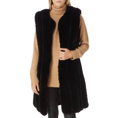 JayLey Collection Black Luxury Faux Fur Long Gilet