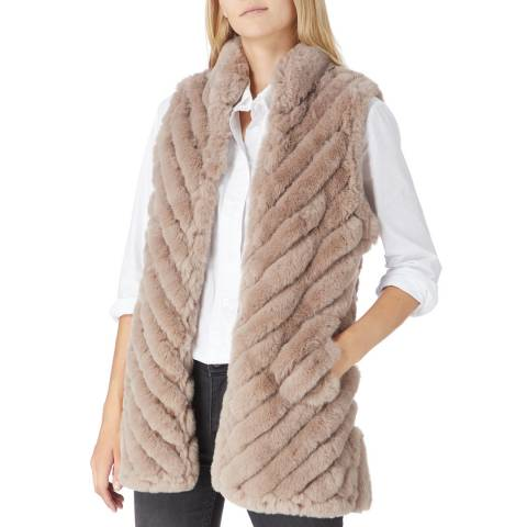 JayLey Collection Taupe Ribbed Faux Fur Gilet