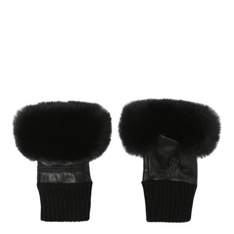 JayLey Collection Black Fingerless Black Gloves With Faux Fur Trim
