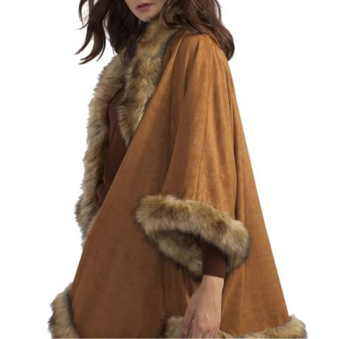 JayLey Collection Mocha Faux Fur Suede Jacket
