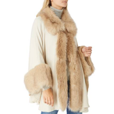 JayLey Collection White Wool Blend & Faux Fur Cape Coat