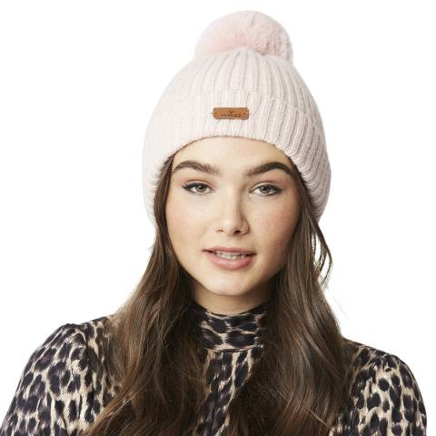 JayLey Collection Blush Wool Blend Hat With Faux Fur Pom