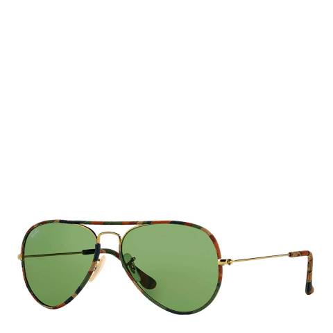 Ray-Ban Unisex Tortoise Aviator Sunglasses 58mm