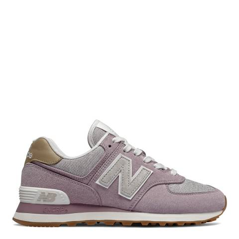 New Balance Lilac & Light Grey 574 Sneakers