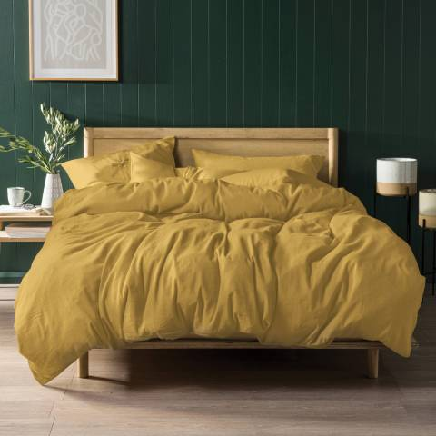 Linen House Nimes Linen Single Duvet Cover Set, Ochre