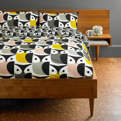 Orla Kiely Big Owl King Duvet Cover, Pink/Grey