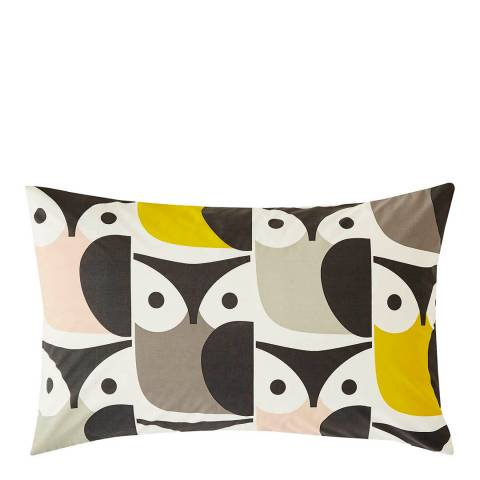 Orla Kiely Big Owl Pair of Housewife Pillowcases, Pink/Grey