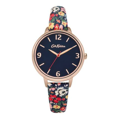 Cath Kidston Gold & Navy Floral Strap Watch