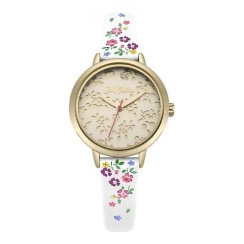 Cath Kidston Gold & Floral White Strap Watch