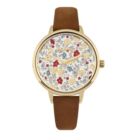 Cath Kidston Floral & Brown Leather Strap Watch