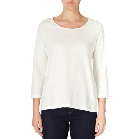 Jaeger White Gathered Cotton Jersey Top