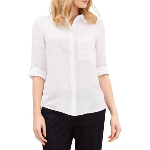 Jaeger White Linen Roll Sleeve Shirt