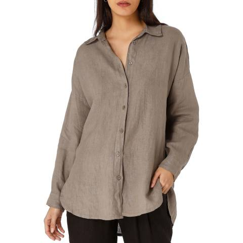 Laycuna London Taupe Linen Oversized Shirt