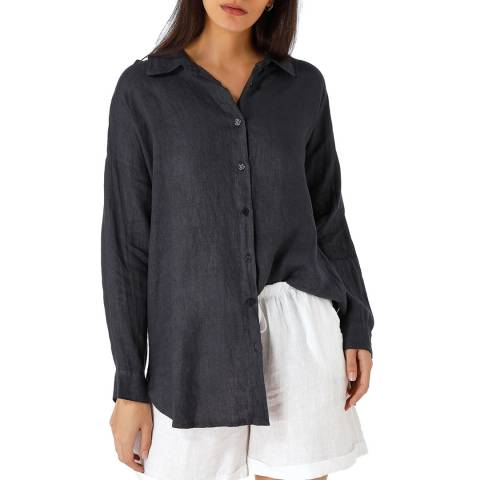 Laycuna London Navy Linen Oversized Shirt