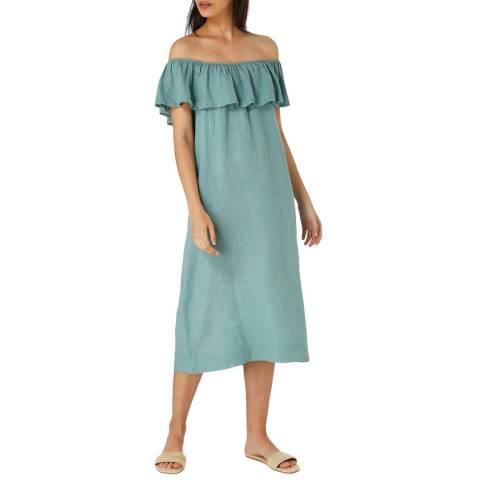 Laycuna London Green Linen Frill Midi Dress