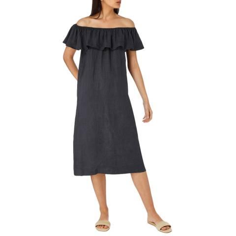 Laycuna London Black Linen Frill Midi Dress
