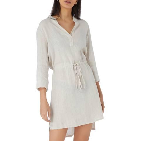 Laycuna London Cream Linen Tie Front Dress