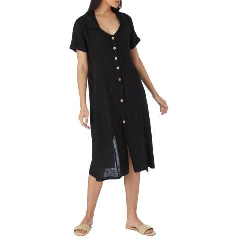 Laycuna London Black Linen Buttoned Front Dress