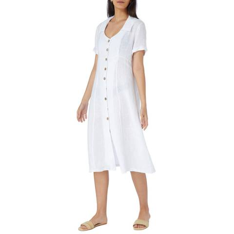 Laycuna London White Linen Buttoned Front Dress