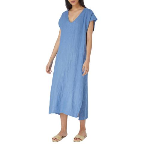 Laycuna London Light Blue Linen Uni Dress