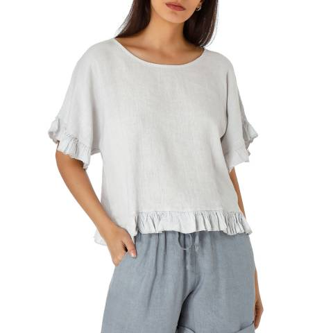 Laycuna London Grey Cropped Frill Linen Blouse