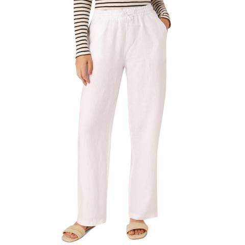 Laycuna London White Linen Wide Leg Trousers