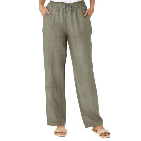 Laycuna London Khaki Linen Wide Leg Trousers