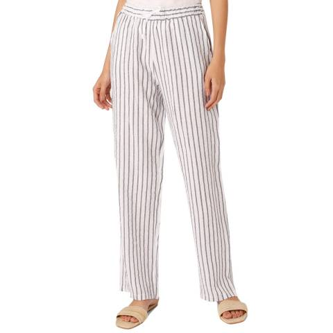 Laycuna London Blue/White Linen Wide Leg Trousers