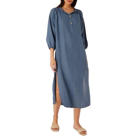 Laycuna London Dark Blue Linen Dress