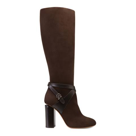 BALLY Brown Suede Challie Heeled Boot