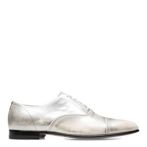 BALLY Silver Metallic Leather Dulcia Oxford Shoe