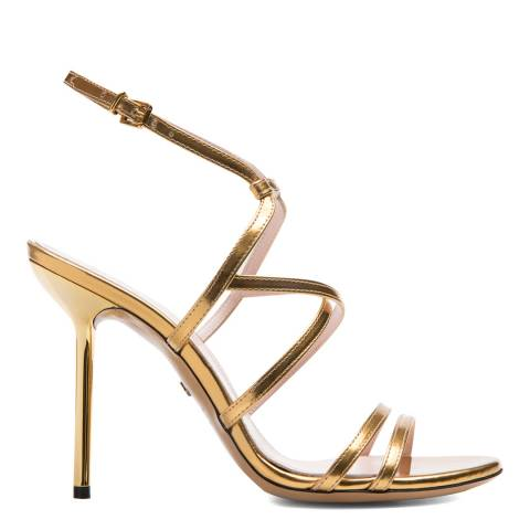 BALLY Gold Laminated Electre Heeled Sandal