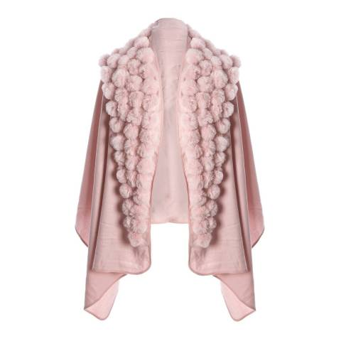 JayLey Collection Pink Cashmere Blend Faux Fur Pom Pom Wrap