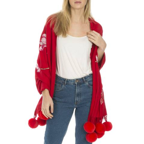 JayLey Collection Red Luxury Cashmere Blended Wrap