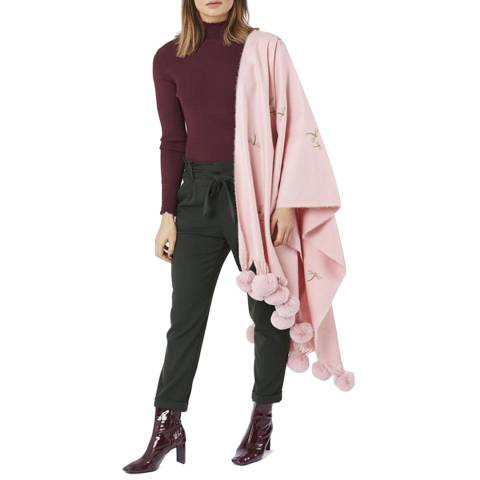 JayLey Collection Pink Cashmere Blend Embroidered Dragonfly Pompom Wrap