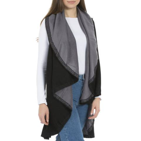 JayLey Collection Black/Grey Reversible Cashmere Cape