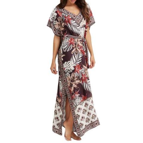 Milea By Seafolly Chocolate Scarlet Gardenia Kaftan
