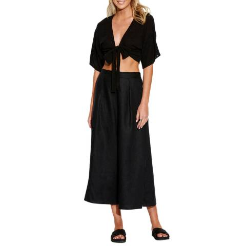 Seafolly Black Linen Blend Split Pant