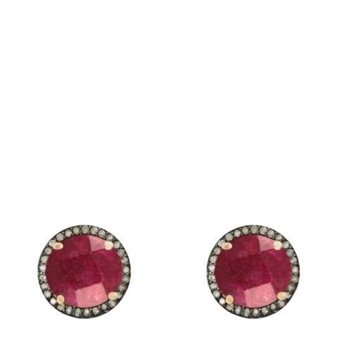 Liv Oliver 18k Ruby/Multi Diamond Halo Stud Earrings